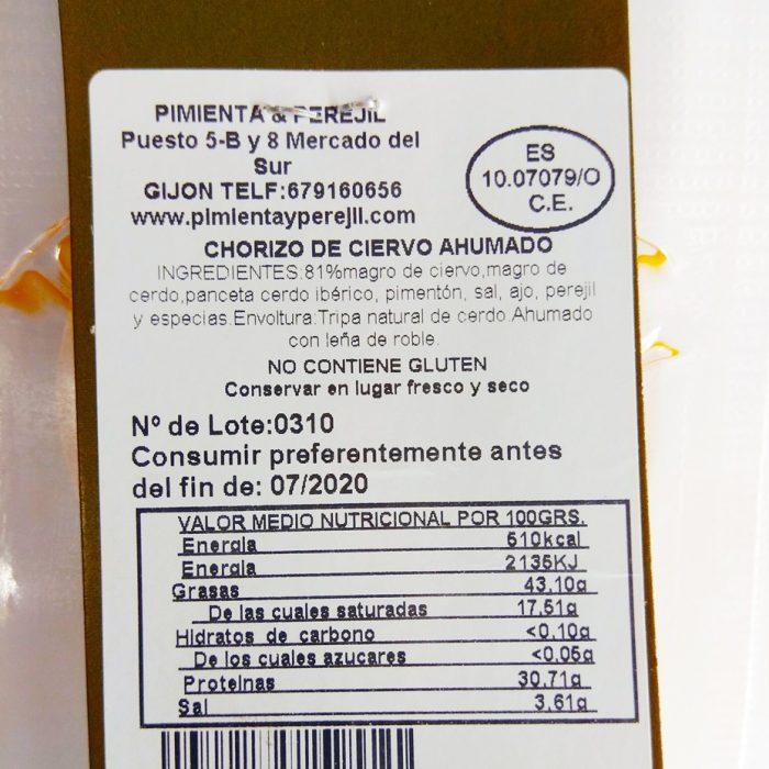 Chorizo asturiano de Ciervo