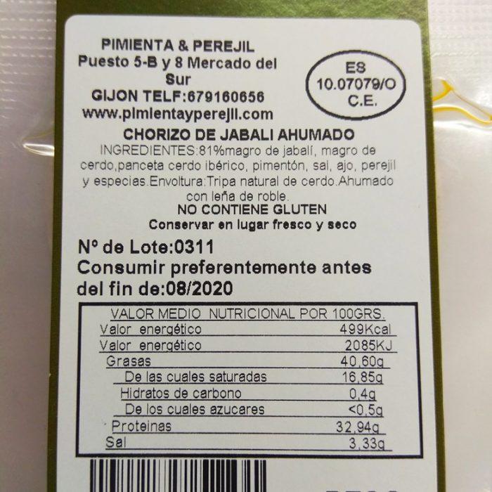 Chorizo asturiano de Jabalí